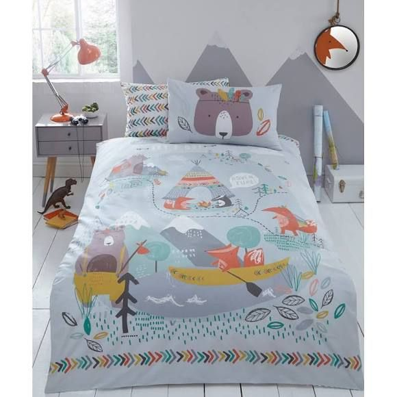Bluezoo Multicoloured Printed 'Let S Go Camping' Bedding Set, Grey