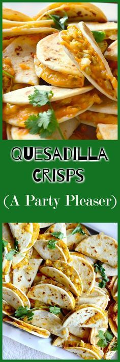 These cheesy,salty quesadilla crisps are perfect party fare. Make ahead and reheat in 5 minutes and guaranteed to be a party pleaser! www.thisishowicook.com #Mexicanfood #quesadillas #appetizer