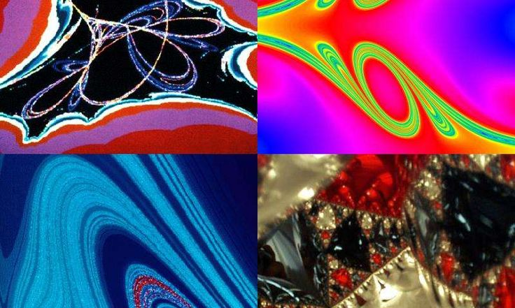 """Researchers from the University of Maryland have proposed a new definition of chaos that applies to a wide variety of chaotic systems, including attractors, (top left, a """"Tinkerbell"""" attractor), repellers, (right side, top and bottom, illustrating chaotic scattering), and forced systems (bottom left, motions of a damped pendulum). The bottom right picture shows the pattern of light created inside a pyramid of four reflective balls :: http://phys.org/news/2015-07-expansion-entropy-l"""