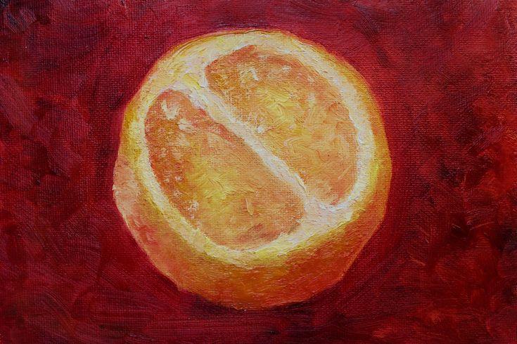 Миниатюра картина маслом ягода фрукт оранжевый апельсин. Oilpainting orange juse mimiature fruit, fetus by teslimovka on Etsy