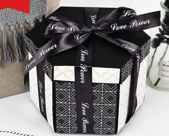 EBG-Explosion box, simple black gold photo album box, birthday gift for boyfriend, girlfriend, weddi