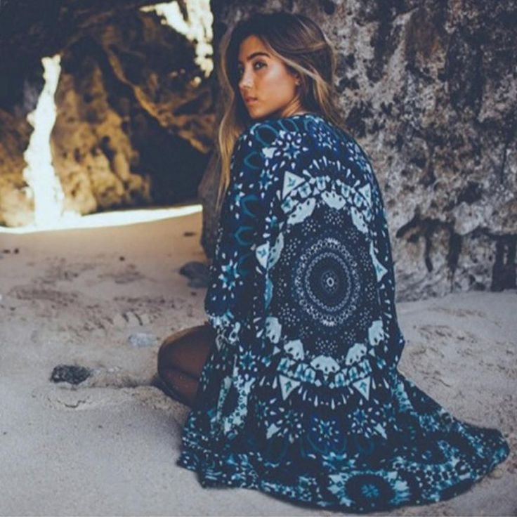 Boho Mandala Print Kimono - Sassy Posh - 1