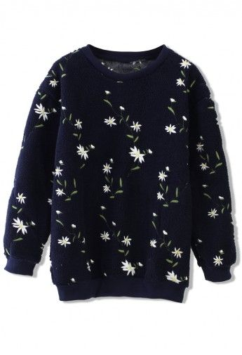 Floral Embroidered Sweater in Navy Blue