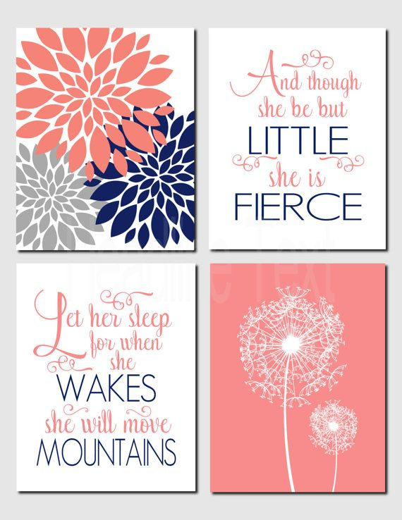 Girl Nursery Kids Wall Art Coral Navy Gray Toddler Girl