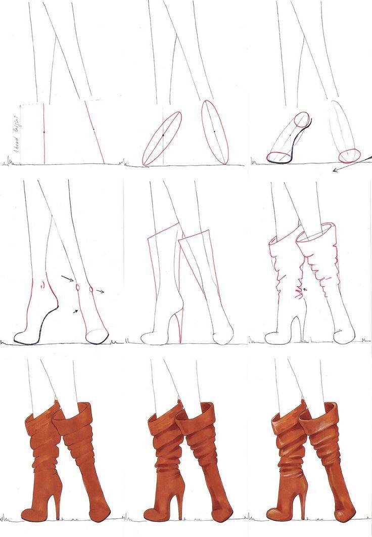 Eine Schritt Fur Schritt Anleitung Zum Zeichnen Von Stiefeln Eine Schritt Fu 2020 Fashion Drawing Sketches Fashion Illustration Tutorial Fashion Design Sketches