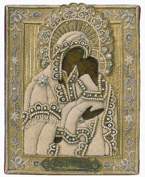 Icon in a Setting: the Virgin of Yaroslavl   Wood, velvet, silver, pearls, turquoise, glass, metal thread, twist, copper, oil on canvas; embroidery in couched stitch technique, with cutting and stamping. 24x20x2.8 cm   Russia. Yaroslavl. Late 19th century. The Ermitage