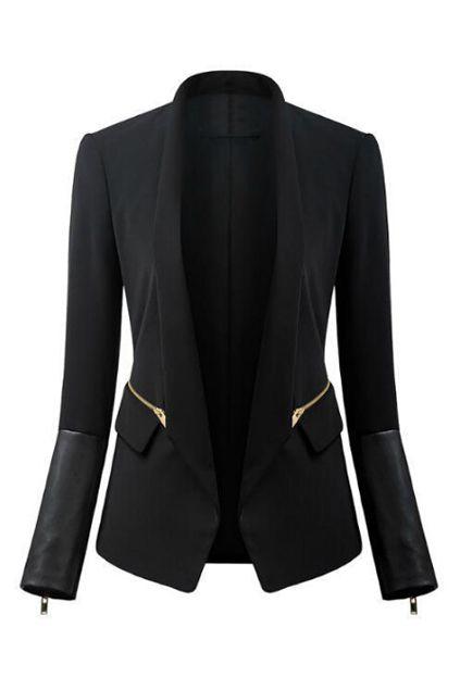 ROMWE   ROMWE Zippered Lapel PU Panel Slim Black Blazer, The Latest Street Fashion
