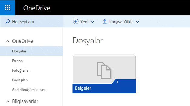 Microsoft OneDrive ile online bulut depolama alanı oluşturup dosyaları Microsoft bulut dosya depolama alanında ücretsiz olarak saklamak ve eşitlemek.