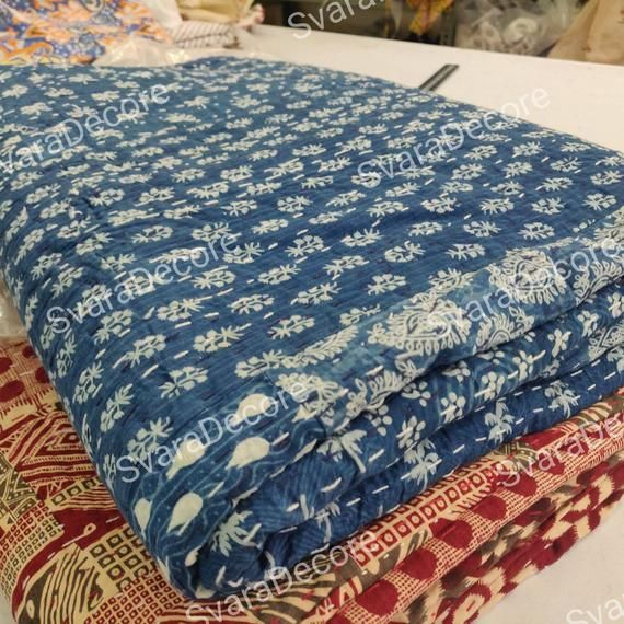 Decorative Blanket Duffle Blanket Indian Tie Dyed Indigo Blue Blanket Intetior Home Decore Shibori Christmas Gift Kantha stiched Blanket
