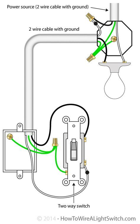 2 way switch with power source via light fixture | How to