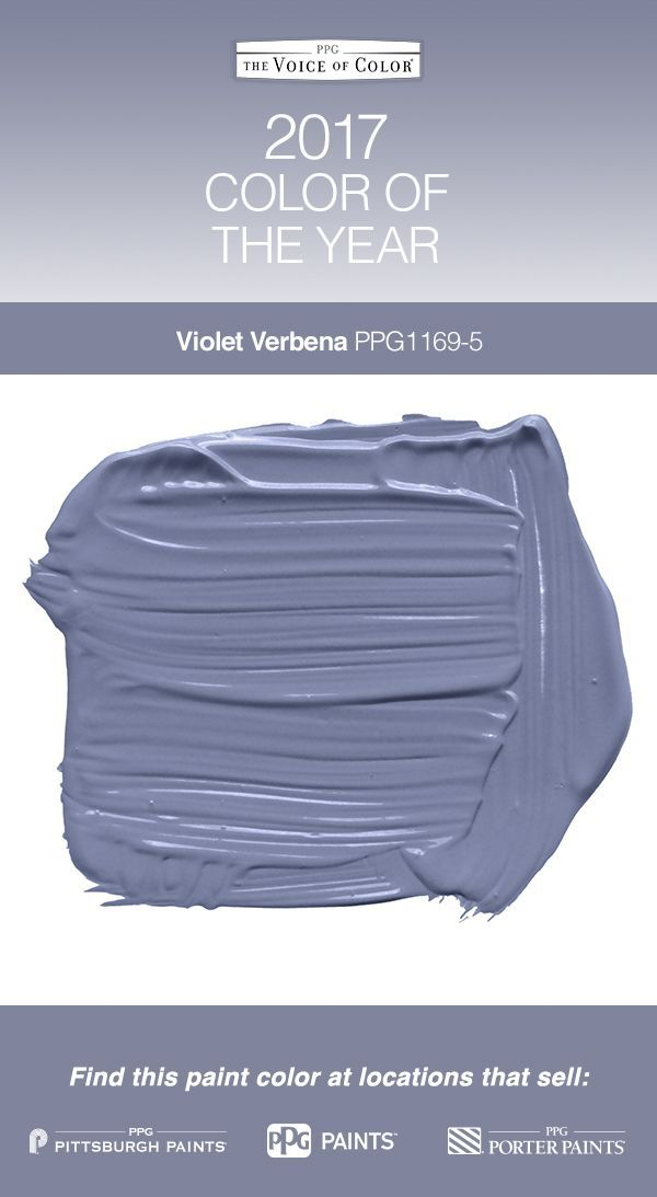 2017 Paint Color of the Year, Violet Verbena! Violet Verbena is a mix of gray, violet and a little blue - perfect as a colorful neutral for nearly any space in or outside your home.