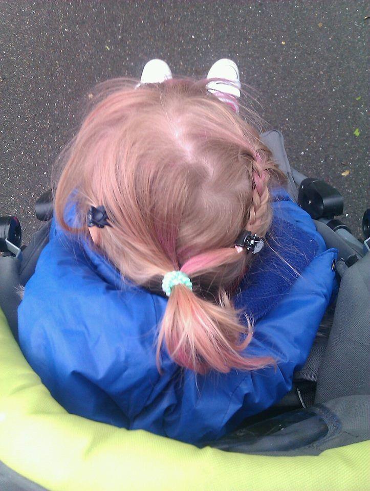 Roze plukjes vlechtje staart en speldjes  kinder haar / child hair creations