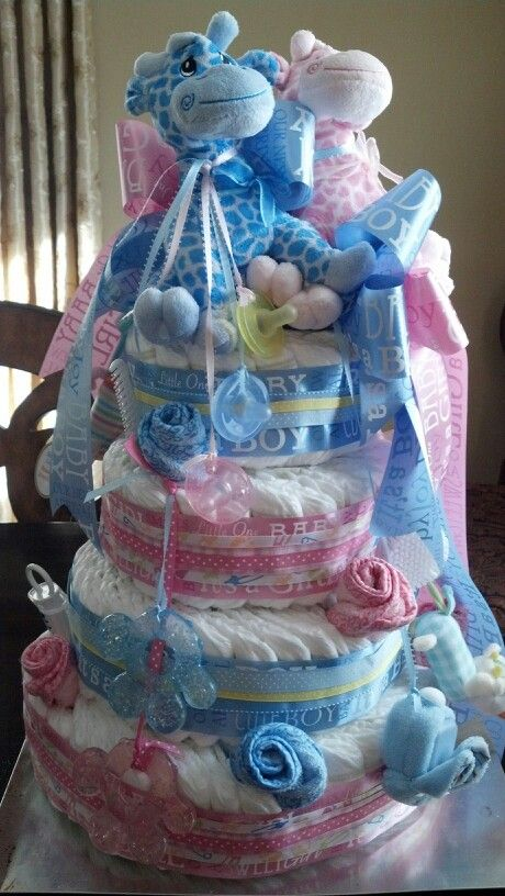 Diaper cake for twins, or for unknown sex of baby
