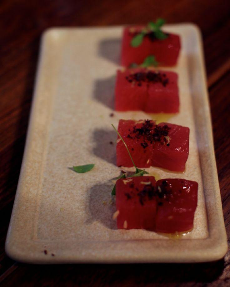 MoVida - Melbourne CBD - My Kiki Cake - Sydney Food Blog - Fresh Yellowtail Tuna with Compressed Watermelon and Black Olive.