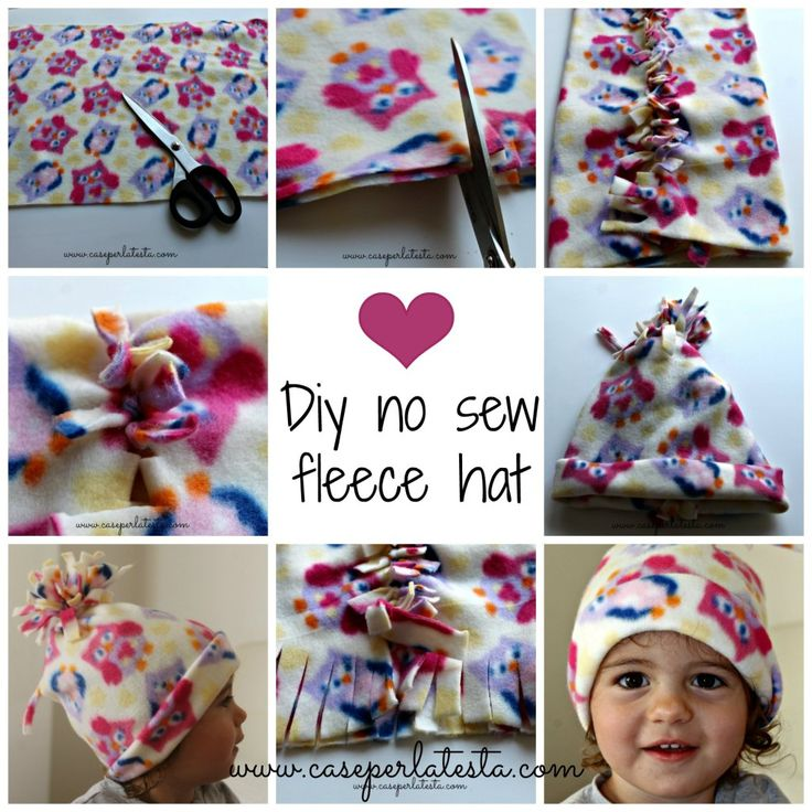 diy no sew fleece hat / Cappellino in pail senza cucire  The perfect Xmas gift for kids