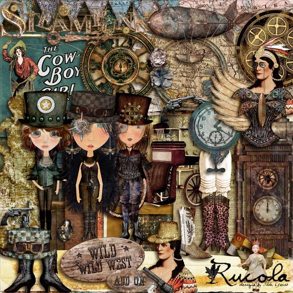 Wild Wild West Add-On by Rucola Designs #digitalcollage #digital #art #artjournaling #scrapbook #steampunk #western