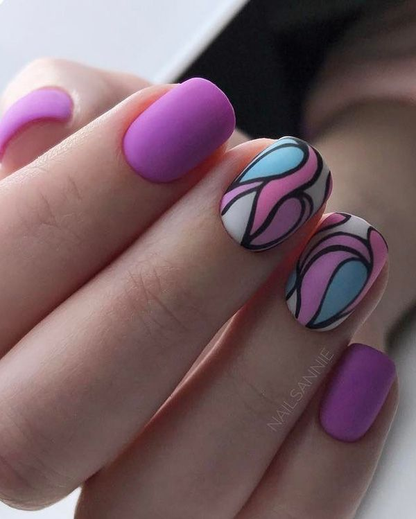 The Pink Abstract Nail Art Design. Whether you want a simple nail art design or something that goes with every outfit, this unique yet attractive abstract nail art design is inspiration.