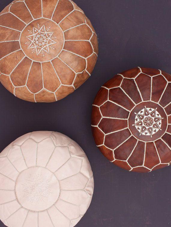 Cuir naturel Pouf marocain sol Ottoman coussin zone méditation coussin Pouf assise coussin de sol décoratif NO FILLER comprennent