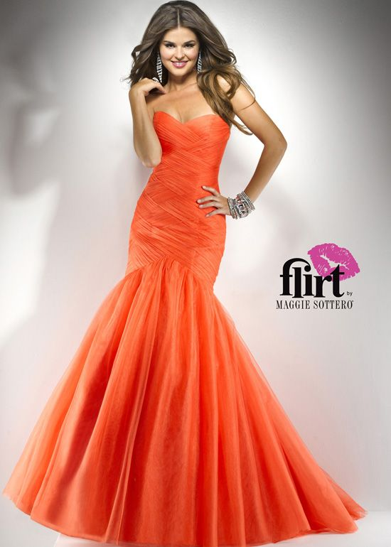 Flirt by Maggie Sottero P4708 - Tangerine Orange Strapless Mermaid Prom Dress