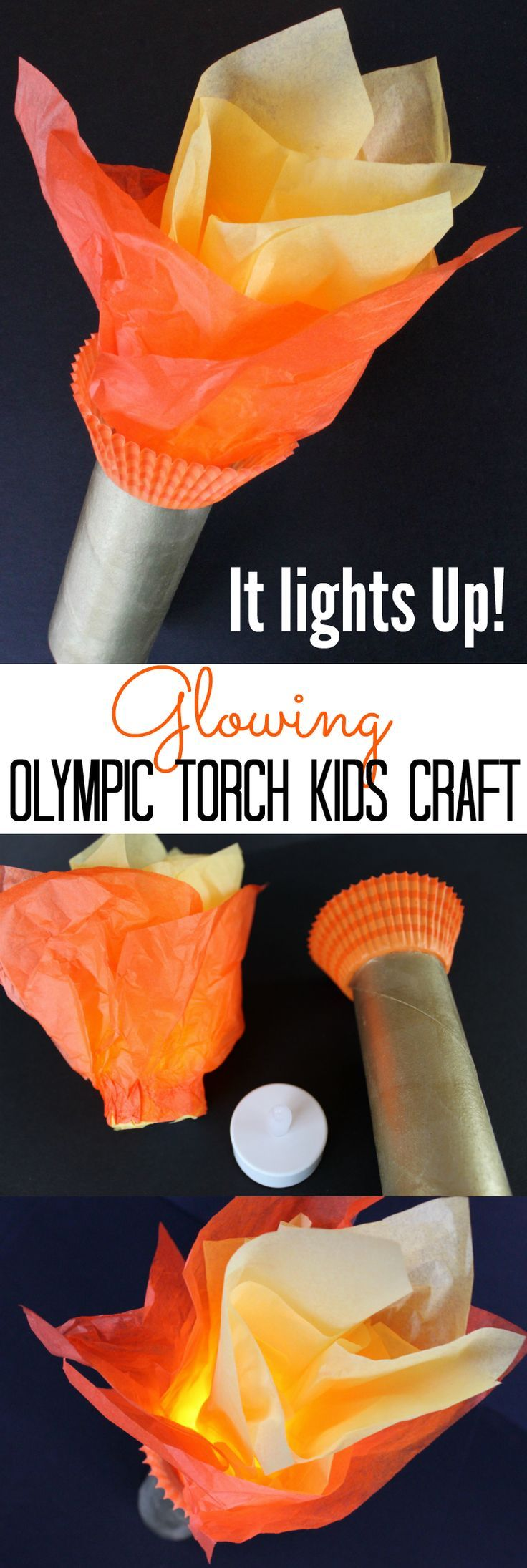 IT LIGHTS UP! Glowing Tealight Olympic Torch Kids Craft for the Summer Olympics and Winter Olympics games - A great toilet paper roll craft for kids to hold during the Olympic Opening Ceremony!