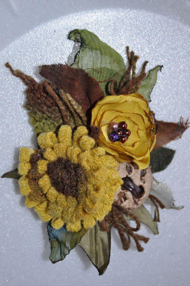 OOAK designer yellow sunflower wool lagenlook corsage brooch coat jacket pin L
