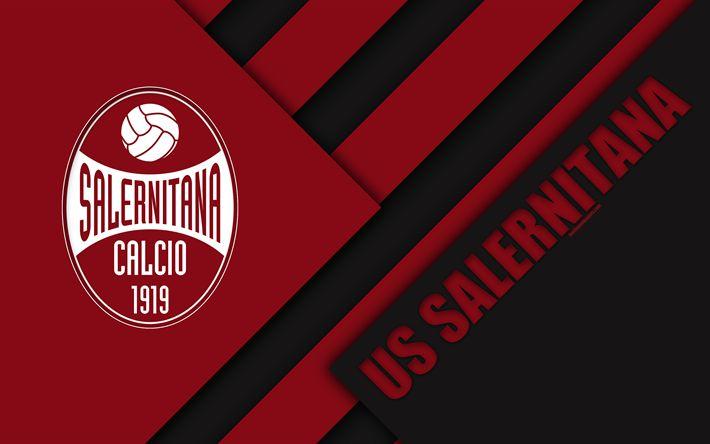 Download wallpapers US Salernitana 1919, 4k, material design, logo, burgundy black abstraction, emblem, Italian football club, Salerno, Italy, Serie B