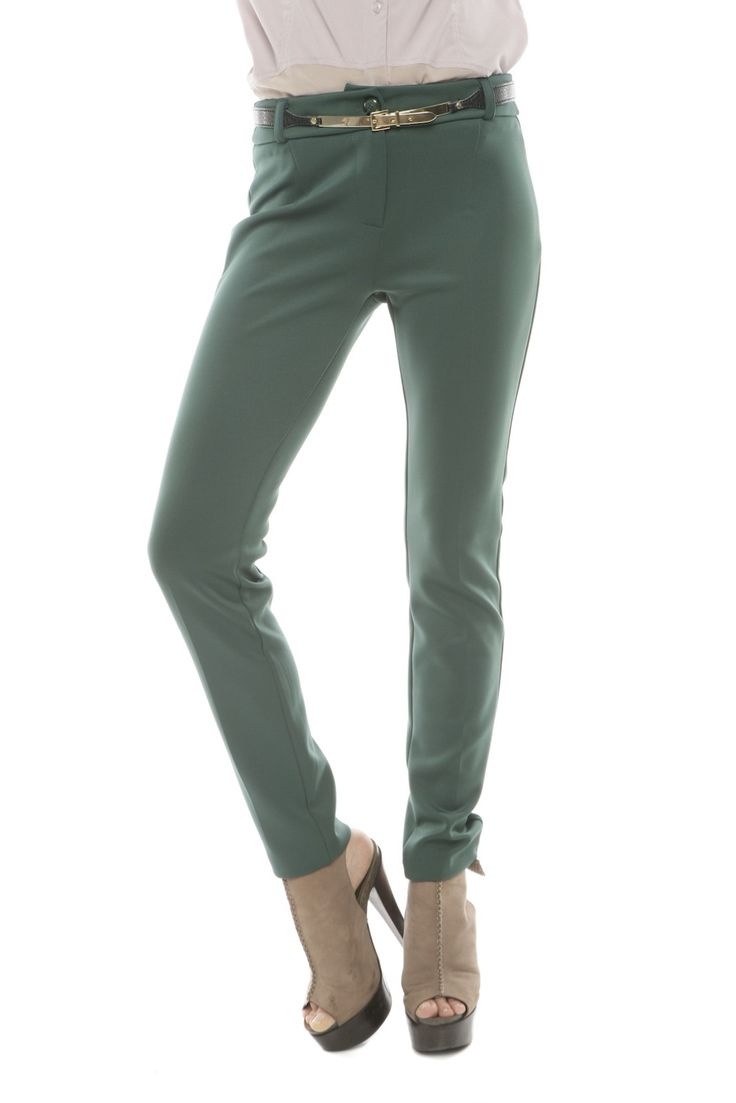 Gold Belted Skinny Pants