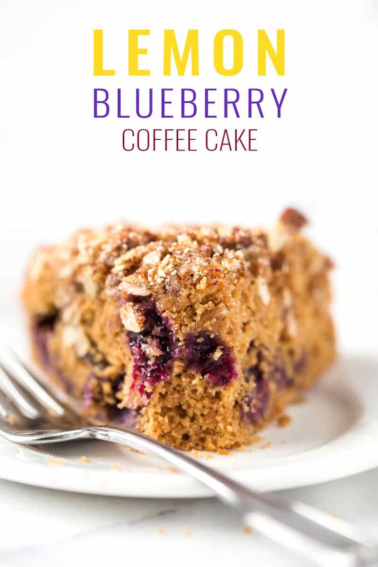 GLUTEN-FREE LEMON BLUEBERRY COFFEE CAKE -- made with whole grain flours, sweetened with coconut sugar and topped with an AMAZING crumble!