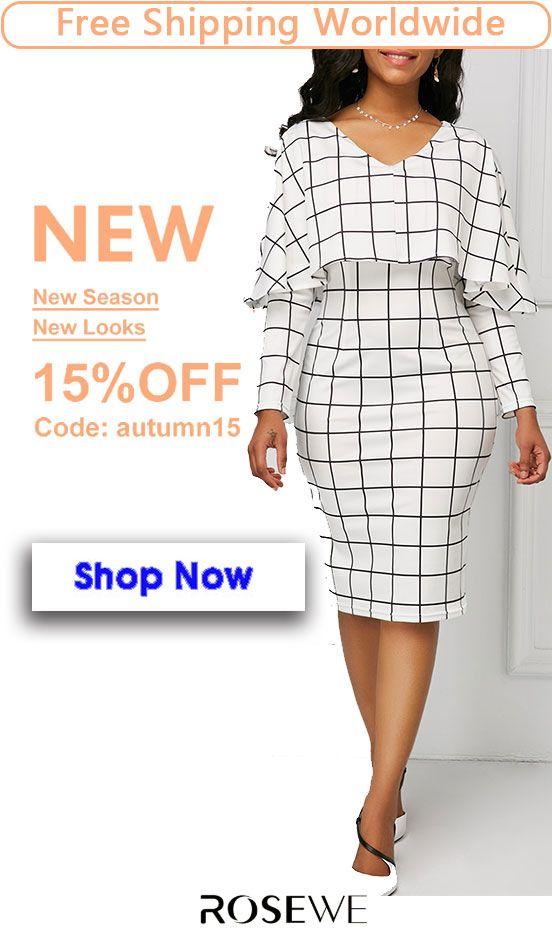 e7b0373e0fc White V Neck Grid Print Cape Sheath Dress. sheath dress