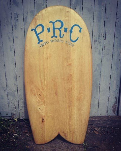 Fish tail twin fin paipo with Paipo riders club graphic #surfcraft #signage #surf #paipo #paulownia #glide #timber #handmade