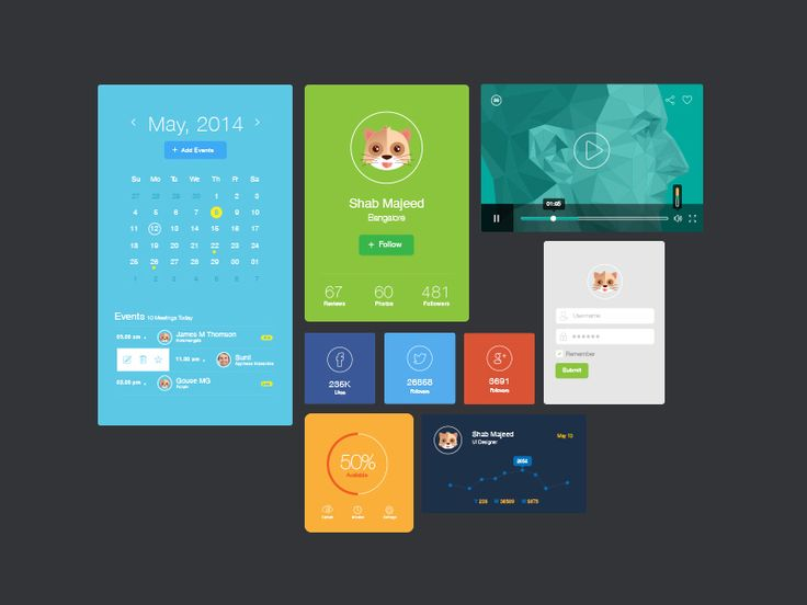 Flat UI Design Elements - Free Download by Shab Majeed