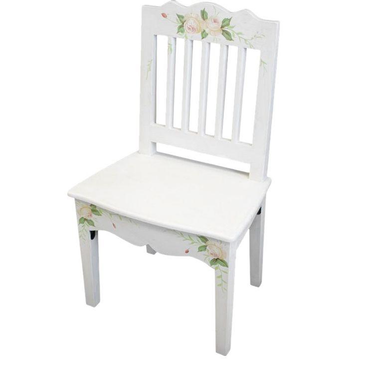Stühl im French Cottage Stil, Wir haben auch adrese Möbel aud dieser Kollektion, prüfen Sie. Möbel ist weiß mit den gemalten Rissen und mit gemalten Blumenmotiven verziert. Empfehlenswert nicht nur für Frauen.  #Frauen #Stühl #Sessel #French #Cottage