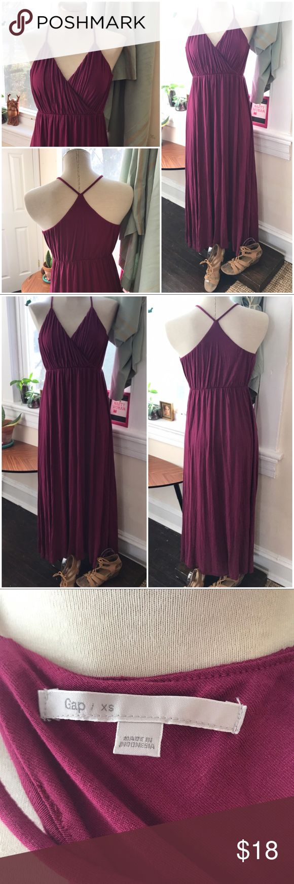 """GAP cotton stretch Grecian goddess maxi dress EUC only worn once Deep magenta purple color Greek goddess style dress  High waisted, hits at small of rib cage / smallest area of waist Unstretched: 12"""", somewhat stretched 15.5""""  Skirt length: 38"""" Bodice length: 9"""" Soft flowy dress cotton blend GAP Dresses Maxi"""