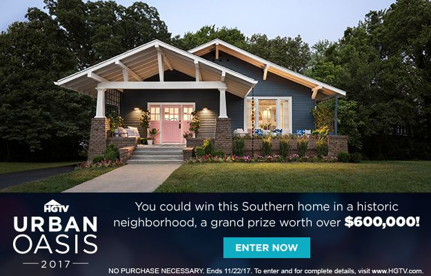 HGTV Urban Oasis Giveaway: Enter for 2 chances to win this Craftsman bungalow and $50k cash from Quicken Loans