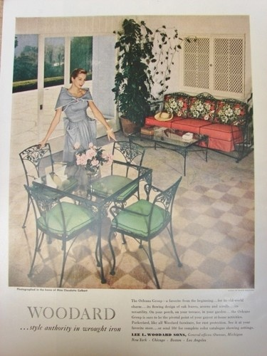 1950 WOODARD Wrought Iron ORLEANS PATIO Dining FURNITURE @ Claudette  COLBERTs Ad | Vintage Wrought Iron Patio Furniture | Furniture, Patio, Garden  Furniture