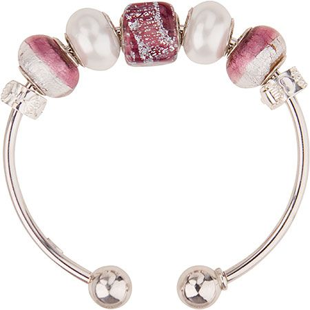 Cool amethyst Murano glass beads are the focal point of this PERLAVITA bangle bracelet. Complete with sterling clips to keep the beads in place. Add more beads or change the look all together by unscrewing the end off the bangle and sliding on more beads. This is a complete bracelet with all parts included. Delivery on this item is 7 to 10 days.