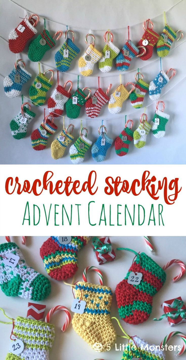 5 Little Monsters: Crocheted Stocking Advent Calendar - free crochet pattern.
