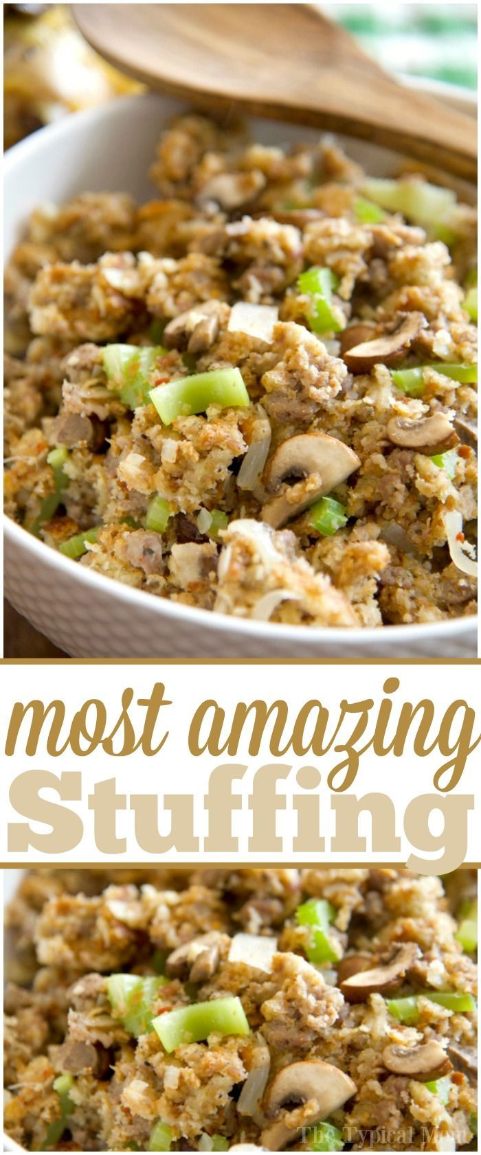 This Pickford stuffing is the MOST amazing stuffing recipe you will ever make! It's so good we make it at Thanksgiving, Easter, and year round! Super easy. via @thetypicalmom