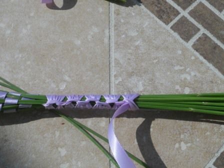 Finishing up a lavender wand by working half hitches over the stems (I think those are half hitches?) post also has directions on how to do the lavender wands too.
