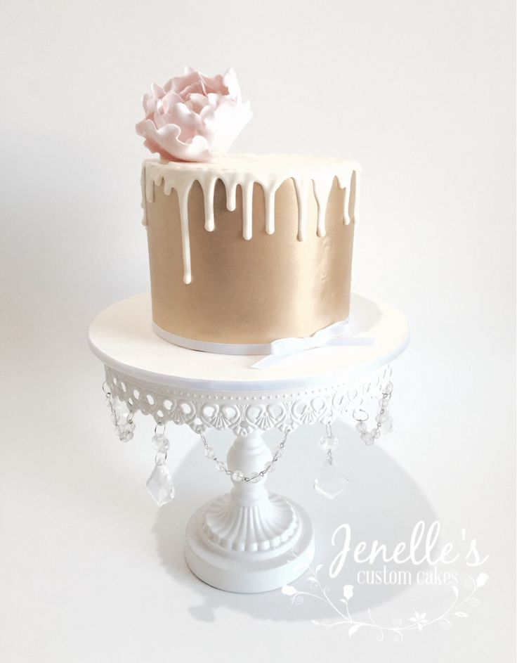 Gold drip cake. By Jenelle's Custom Cakes!
