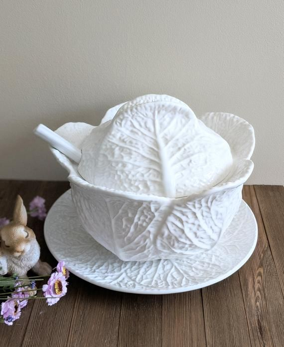 White Cabbage Soup Tureen With Plate And Ladle Ceramic Made Etsy Tureen Easter Table Decorations Easter Table