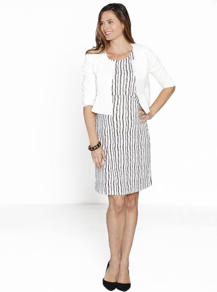 Lady in White - Maternity Fitted Dress & Cropped Jacket Work Outfit, $49.95, RRP $129.90, SAVE $79.95. This is the perfect work outfit that comes with a  Sleeveless Fitted Pencil Dress in Black and White and our  Maternity Cropped Jacket in White. This fitted pencil dress is stretchy enough to enhance your growing baby bump.