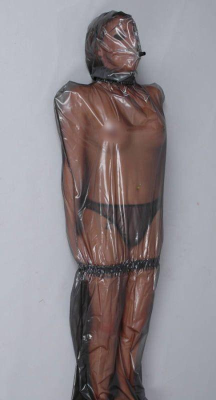 Woow plastic bag hood bondage ass