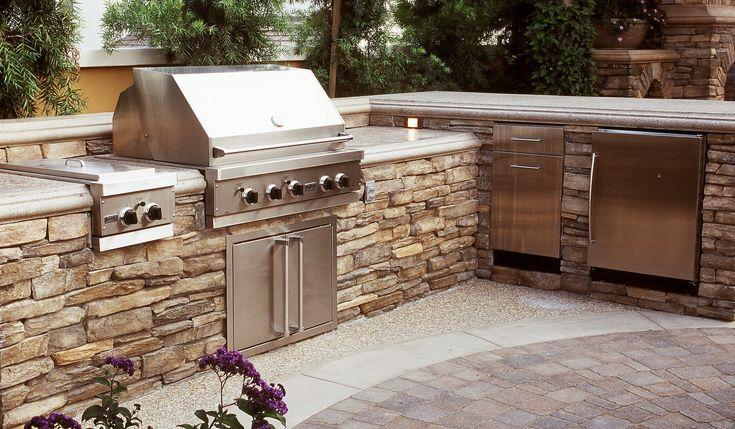 Coastal Stone Outdoor Kitchen Dining Alfresco