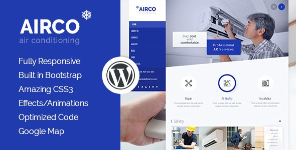 Airco Air Conditioning Heating Wordpress Theme Heating And