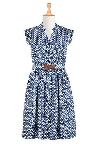 I <3 this Diamond print belted shirtdress from eShakti