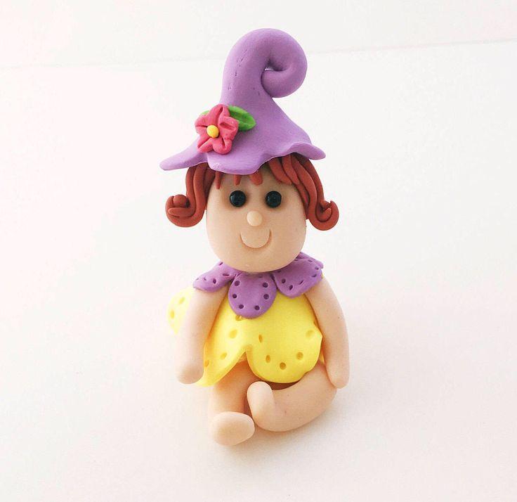 Purple Garden Fairy, Fairy, Miniature Fairy, Fairy Cake Topper, Fairy Figurine, Fairy Garden Accessory, Fairy Garden Decor, Polymer Clay by WeeBitCuckoo on Etsy https://www.etsy.com/listing/503070332/purple-garden-fairy-fairy-miniature