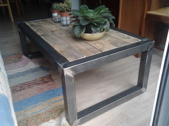 25 best ideas about industrial coffee tables on pinterest - Table basse bois metal industriel ...