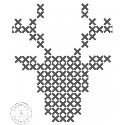 Plak 't stickerpatroon Hert  cross stitch reindeer