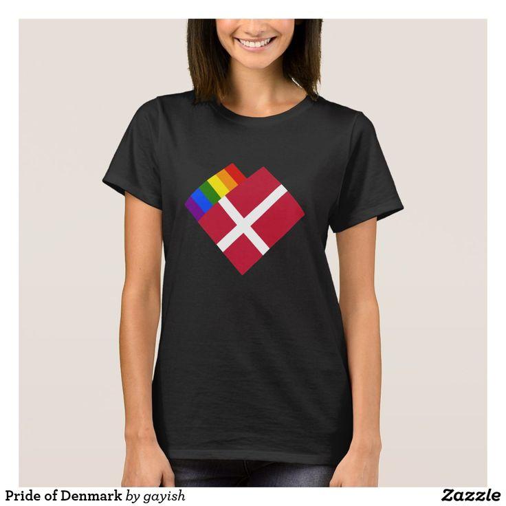 Pride of Denmark t-shirt.  #gaypride #tshits #prideshirt #pride #flags #heart #gayrights #gaydenmark #denmark
